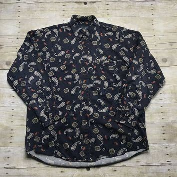 Vintage 90s Chaps Ralph Lauren Navy Paisley Print Button Down Shirt Mens Size Large