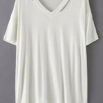 White V Neck Cutout Short Sleeve T-shirt