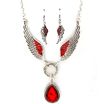 red angel wing necklace and earring set