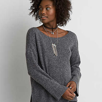 AEO Open Back Sweater, Gray