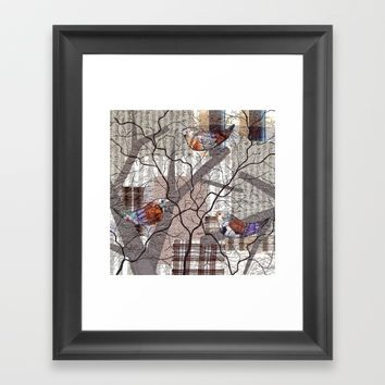Spring Birds Framed Art Print by Bozena Wojtaszek