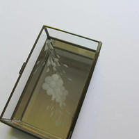 Vintage Brass Frame Glass - Etched Flower Design - Curio Display Box with Mirrored Bottom 1980s