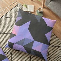 'Pink and Purple Geo' Floor Pillow by DuckyB