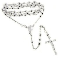 "Catholic Sterling Silver Rosary Beads 24"" Necklace with Crucifix"