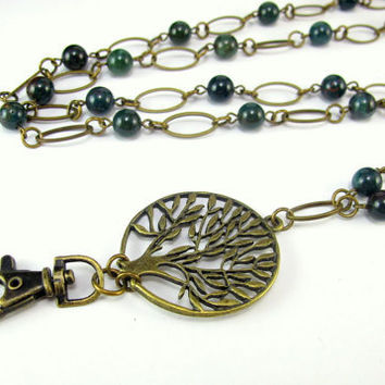 Indian Bloodstone Necklace Lanyard with a Tree of Life