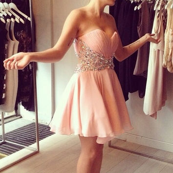 Homecoming Dress,Chiffon Pink Crystal Beadings Mini Short Prom Dress