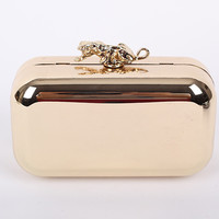 New Lion Metal Hard Case Clutch Bag