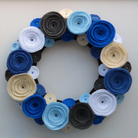 Blue Flower Wreath, Beach Nautical Felt Flower Christmas Wreath Home Decor