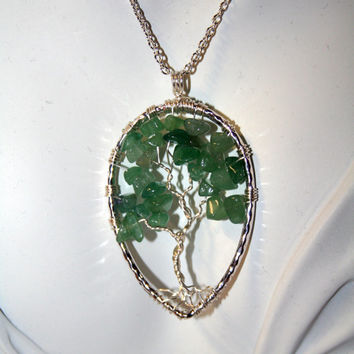 Aventurine Tree of Life --- Necklace Green Pendant Silver Trunk On Silver Chain Wire Wrapped Semi Precious Gemstone Jewelry