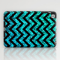 Chevron Aqua Sparkle iPad Case by M Studio | Society6 - (NOT REAL GLITTER) - iPad 2nd, 3rd, 4th Gen, and iPad Mini