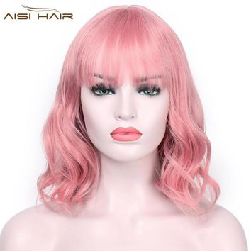"I's a wig Synthetic Wigs for  Women Pink Short Wig aisi  Hair  12"" Long  Water Wave   False Hair"