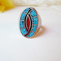 Big Old Pawn Navajo Tribal Ring Ethnic Southwestern Vintage Turquoise & Coral Chip Hummingbird Inlay Sterling Silver Mens Ring Fathers Day