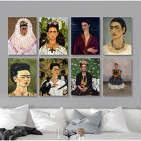 Classic Frida Kahlo Figure Canvas Painting Famous Posters Prints American Wall Art Pictures for Living Room Home Decor Unframed