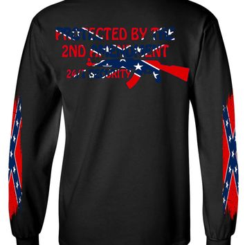 Men's Confederate Rebel Flag Long Sleeve Shirt Protected By The 2nd Amendment
