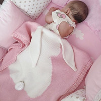 Gray Pink Baby Blankets Rabbit Crochet Newborn Blanket Kids Personalized Cotton Bedding Cover Appease Sofe Babies Photo Props