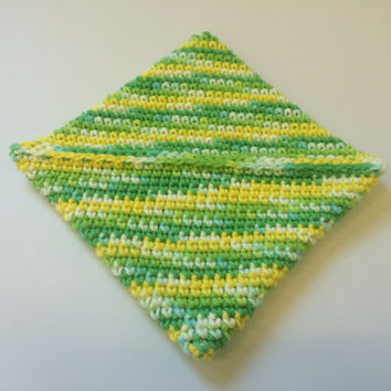 Crochet Pot Holders, Bright Hot Pads, Green & Yellow Pot Holders, Double Thick Pot Holders, Trivets