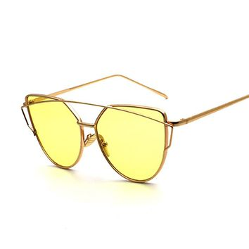 Classic Fashion Clear Lens Cat Eye Sunglasses for Ladies