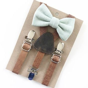 Sage Green Baby & Toddler Bow Tie w/Leather Suspenders