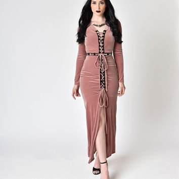 Mauve Long Sleeve Velvet Lace Up Fitted Maxi Dress