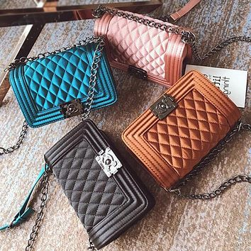 Fashion All-match Velvet Metal Chain Single Shoulder Messenger Bag Women Quilted Flip Small Square Bag