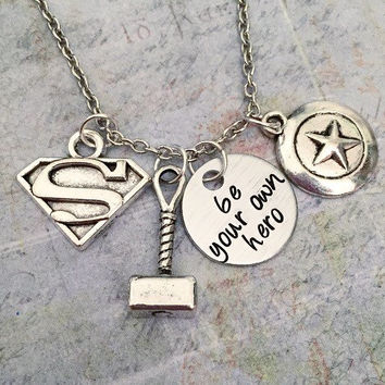 Be Your Own Hero Necklace - Superhero Jewelry - Fandom Jewelry - Hero Jewelry - Fangirl Jewelry - I'm My Own Hero Jewelry - Strength Jewelry