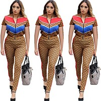 GUCCI Summer Popular Women Casual Print Top Pants Trousers Set Two-Piece Sportswear