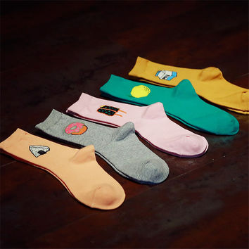 2015 New Fashion Korean Women Cute Food Series Long Socks Kawaii Female Milk Lemon Donut Sushi Cartoon Sock Cheap Cotton Socks