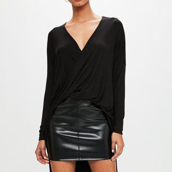 Missguided - Black Drape Twist Front Long Sleeve Tunic Top