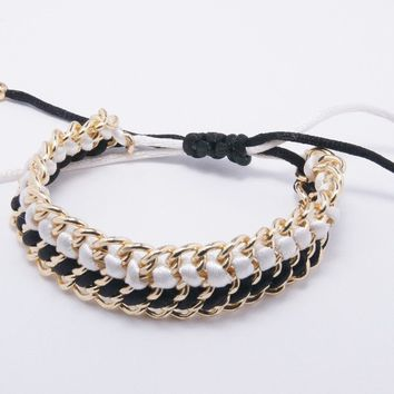 Ribbon Braided Chain Bracelet, Black & White