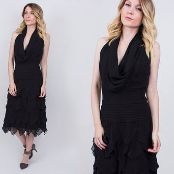 vintage 90s TADASHI silk fish scale party dress black ruffle plunging neck sleeveless cocktail midi tiered glam