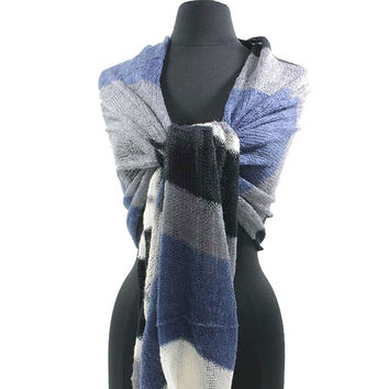 Crochet Knit Long Scarf Colorblock Stripes