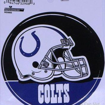 "Indianapolis Colts 4"" Round Decal PV white Bumper Sticker Emblem Football Helmet"