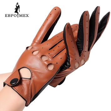 Genuine Leather mittens female glove Fashion leather gloves Punk style gloves female driving gloves Red stitching hollow design