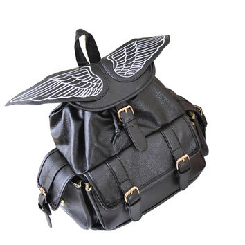 Women Leather Backpack School Bags PU Leather Large Capacity Angel Wings Backpack Vintage Style Bolso Mochila Feminina Backpacks