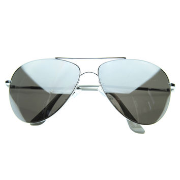 Full Mirrored Lens Class Curved Metal Aviator Sunglasses 1535