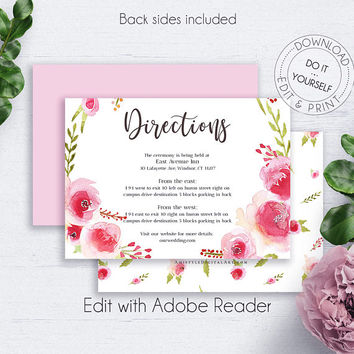 Romantic Invitations Insert Card, Directions Wedding, Reception Directions, Reception, Wedding, Details Template,Printable Details,Printable