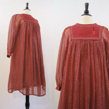 70s Hippie Dress Vintage India Rust Brown Gauze Metallic Thread Boho Peacock Festival M