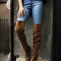 FP Collection Womens Carlisle Suede Over the Knee Boot