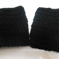 Midnight Black Crochet fingerless gloves mitts fits kids and adults