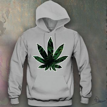 Weed Leaf Hooded Sweatshirt Funny and Music