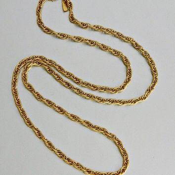 Vintage Monet Gold Chain Necklace, Textured Prince of Wales Chain, Gold Tone Designer Chain.