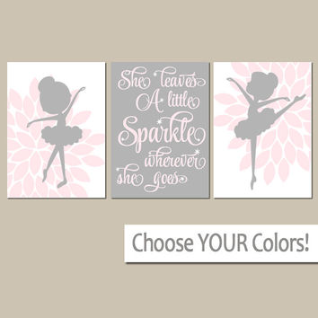 BALLERINA Wall Art, CANVAS or Prints She Leaves A Little Sparkle, Baby Girl Nursery Decor, Girl Bedroom Pictures, Dancer Artwork Set of 3