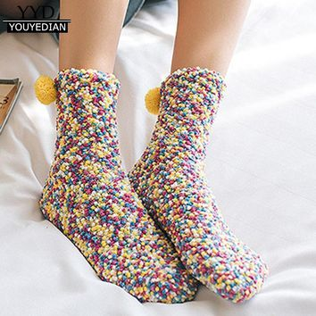 Calcetines Mujer 2017 Fashion Women Cotton Thick Winter Warm Creative Winter Soft Warm Socks Woman #1218