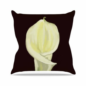 "Cyndi Steen ""Portrait Of A Calla Lily"" White Floral Throw Pillow"