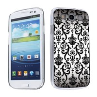 Samsung Galaxy S3 Hard Plastic Back Cover Case will fit AT&T, Verizon, Sprint, T-Mobile, U.S Cellular, International GSM - White Vintage Flow