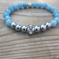 Men's Bracelet, Men Lion Bracelet, Hematite Blue Jade Bracelet, Love, Money, Protection,Gemstone Stretch Bracelet, Gifts For Him