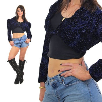Cropped velvet jacket 80s sequin glitter abstract floral Navy blue Puff sleeve Deep V long sleeve Cotton Holiday Small Medium