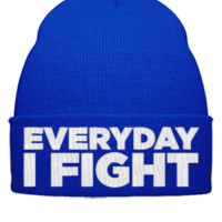 EVERY DAY I FLIGHT EMBROIDERY HAT  - Beanie Cuffed Knit Cap