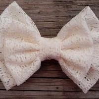 Little Lady Boutique  | Big Double Lace Bow - Cream  | Online Store Powered by Storenvy