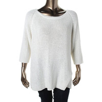 Lauren Ralph Lauren Womens Plus Knit 3/4 Sleeves Pullover Sweater